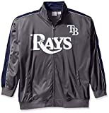 MLB Tampa Bay Rays Men's Team Reflective Tricot Track Jacket, 4X/Tall, Charcoal/Navy