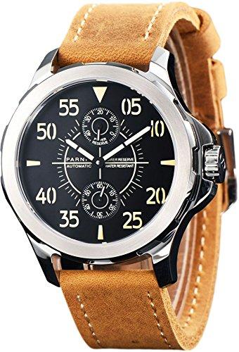 PARNIS 2154 GMT sportliche Herren-Automatikuhr 44mm Markenuhrwerk Seagull Saphirglas Edelstahl-Gehäuse Lederarmband 5 Bar wasserdicht