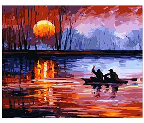 HNZZLC DIY Ölgemälde Digitale Zeichnung Kinder Set Home Mural Dekoration Erwachsene Leinwand Schöne Landschaft Geschenk Sonnenaufgang Über Dem Meer Boot Angeln, Holzrahmen -