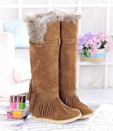 Botas Amarela Mulheres Botas Inverno Coelho Outono De De Neve Plana Joelho Pele Grande Sapatos Jardas De qUxtRZ4wR