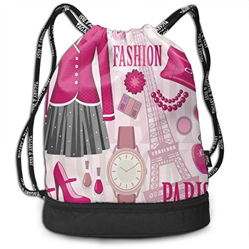 LULABE Printed Drawstring Backpacks Bags,Fashion Theme In Paris with Outfits Dress Watch Purse Perfume Parisienne Landmark,Adjustable String Closure