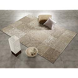 Real Allover Vintage Patchwork Velour alfombra en beige, tamaño: 40x 60cm, beige, 40 x 60 cm