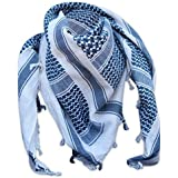 SHEMAGH SCARF ARMY ISSUE ARAB MILITARY FORCES SAS BIKER NECK WARMER (Navy and White, One Size)