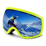 Ewin G03 Esquí Nieve Snowboard Motonieve Patinaje de Hielo Gafas de Proteccion para Hombres y Mujeres, Esquí Snowboarding Deportes al Aire Libre, Vision Esferica Real REVO Lente Antiniebla (Verde)