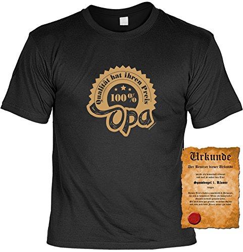 Spaß/Fun-Shirt + gratis Fun-Urkunde Aufdruck für Großväter: 100% Opa - lustiges Geschenk Schwarz