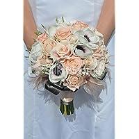 Bella artificiale Fresh touch viola con centro bianco Anemone e Peach rose bouquet da sposa con Heather e piume - Anemone Bouquet Da Sposa