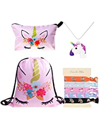 DRESHOW Unicorn Gifts for Girls 4 Pack - Unicorn Drawstring Backpack/Makeup Bag/Necklace Alloy Chain/Hair Ties
