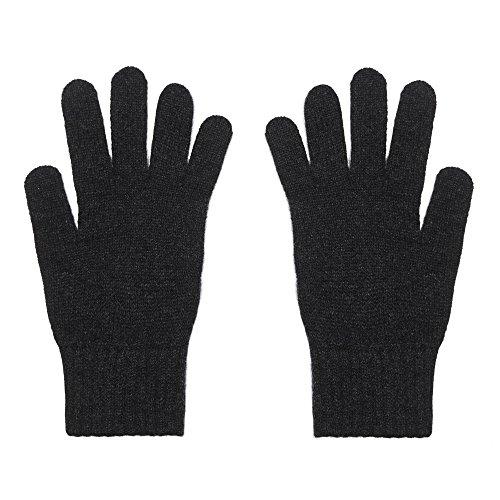 2-schichtige Damenhandschuhe aus purem Kaschmir, anthrazit -