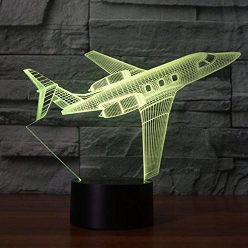 Lámpara de avión 3d ilusión óptica luz nocturna, jawell 7cambia de color...