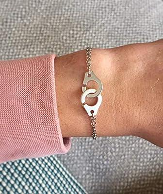 Bracelet menottes chaine argentée - Bracelet menottes double chaine taille réglable