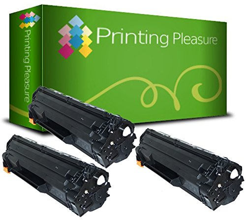 Printing Pleasure 3 Compatibles CE285A 85A Cartuchos de tóner para HP Laserjet Pro P1102 P1102W M1210 M1212NF M1213NF M1217NFW M1130 M1132 M1134 M1136 P1100 P1104W P1106 P1108 - Negro, Alta Capacidad