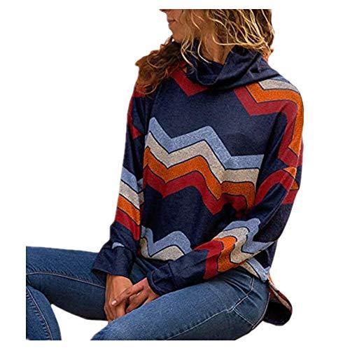iHENGH Vorweihnachtliche Karnevalsaktion Damen Herbst Winter Bequem Lässig Mode Frauen beiläufige Lange Hülsen geometrische Rollkragenpullover Pullover Pullover
