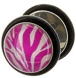 Fake Plug Ohrstecker ZEBRA pink/weiß