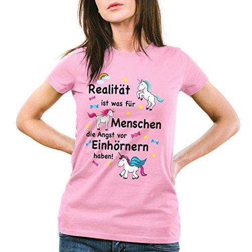 style3 Realität ist was für Menschen die Angst vor Einhörnern haben Damen T-Shirt Unicorn Einhorn, Farbe:Pink;Größe:2XL (Realität T-shirt Mädchen)