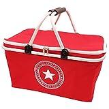 IHOMAGIC 32L Soft Picnic Cooler Bag with Aluminum Alloy Handles, Camping Foldable Insulated Cooler Cool Bag Basket, Lunch Bag Basket (Red Star)