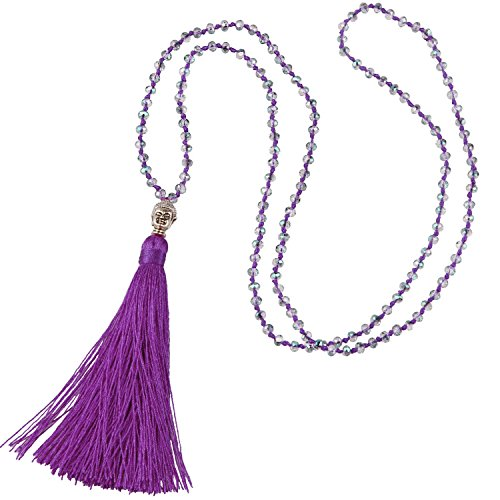 Long Crystal beaded long tassel necklace with silver Buddha