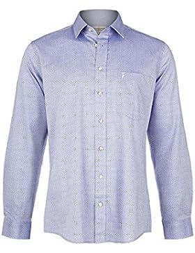 Almsach Herren Herren Trachtenhemd Slim Fit Blau, 3077-BLAU,