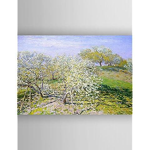 OFLADYH ® alberi Paesaggio Pittura ad olio impressione fioritura tela dipinta a mano con Stretched incorniciato pronto da appendere - Red Fioritura Alberi