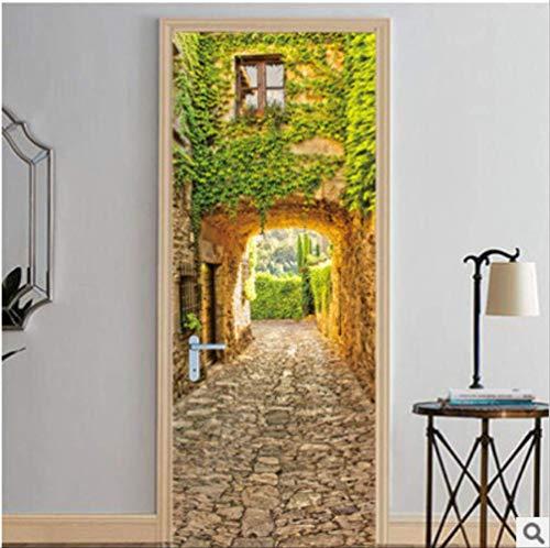 Tür Aufkleber Antike Wand Grüne Pflanze Wandmalereien Wandaufkleber Tapetenaufkleber Dekoration 77X200 Cm - Antike Wandmalereien