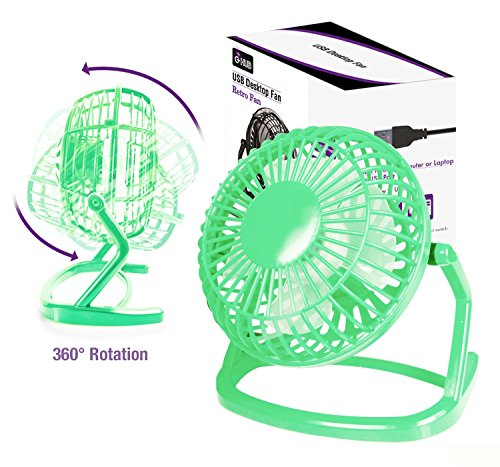 "4"" LEICHTGEWICHTS USB Ventilator - GRÜN Portabel USB TISCHVENTILOR für LAPTOP / REISEN / TISCH / WAGEN / SCHREIBTISCH (Transportabel) mit USB Stecker (Green Retro USB Desk Fan with USB Connection)"