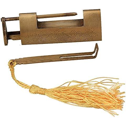 Generic cinese vecchio stile eccellente rame intagliato pesce Pattern Lucchetto per Jewelry Box - Antichi Da Collezione Delle Fotografie