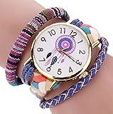 Sannysis Dreamcatcher Amistad Pulsera Relojes vestido de las mujeres del reloj de la trenza (Azul)