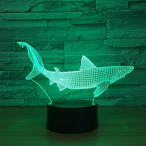 wangZJ 3d Illusion Lampe / 3d Led Nachtlicht / 7 Farben Auto Ändern Touch Schalter Schreibtisch Dekoration Lampen/Hai