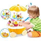 FunBlast Ice Cream Cart Pretend Play Toys, (Set Of 39 Pcs) Ice Cream Kitchen Play Cart Kitchen Set, Mini Candy Ice Cream Trolley Shop Pretend Play Set (Yellow)