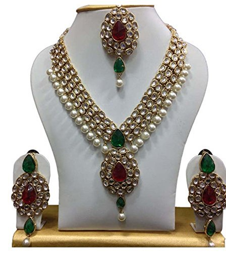 Shining Diva Gold Plated Kundan Pearl Party Wear Traditional Necklace Jewellery Set...