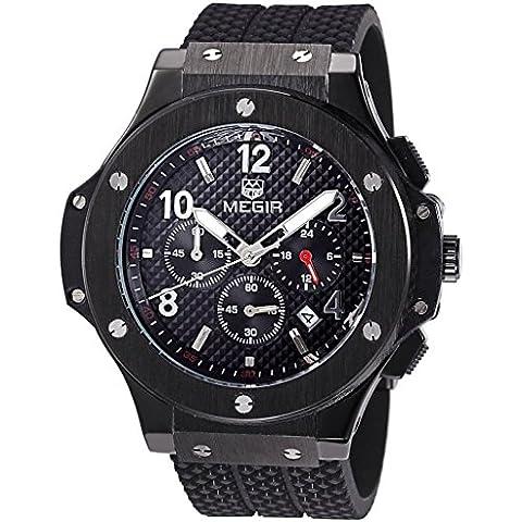 pkaty da uomo Sport fascia in silicone Cronografo e funzione calendario luminosa quarzo orologio da polso