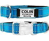 TagME Personalisiertes Hundehalsband mit Namensschild aus Edelstahl,Benutzerdefinierte Gravierte Hundemarke,Reflektierende und Weich Gepolsterte Hundehalsbänder,Hellblau