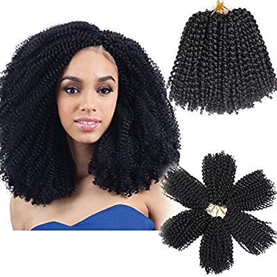 3pcs/Pack 8'' Afro Kinky Twist Hair Crochet Braids Ombre Braiding Hair Synthetic Marlybob Curly Crochet Hair Pieces by BeiSD