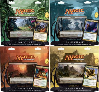 Magic the Gathering Planechase 2012 Set of 4 Decks Chaos Reigns, Night of the Ninja, Primordial Hunger Savage