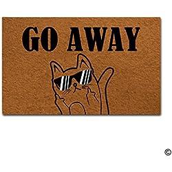 """msmr entrada Felpudo–Felpudo (Go Away gato Felpudo tejido interior y exterior para alfombrilla de goma en la parte superior 18""""x30"""""""
