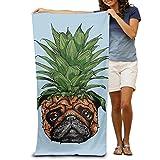 DIMANNU Badetuch Ananas Hund Puppy Gemusterte Weiche Strandtuch 78,7x 129,5cm Handtuch mit Einzigartiges Design