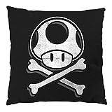 A.N.T. Toadskull Kissen mit Füllung 28 x 28 cm Baumwollbezug mario totenkopf videospiel konsole super world, Farbe:Schwarz