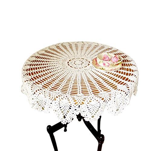 Crochet Fait Main en dentelle de coton Table Canapé Napperon rond Fleur d'ananas Nappe napperons Housse de protection pour meubles Mariage Blanc Décor Zq04, Coton, blanc, 81,2 cm