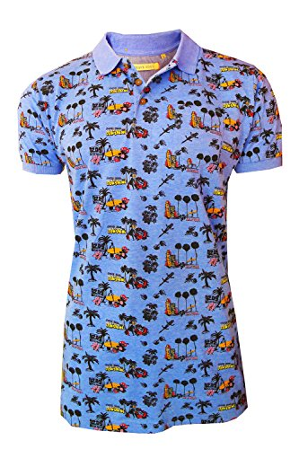 Mens Brave Soul Barracuda Short Sleeve Polo Shirt All Over Beach Print Pique Top