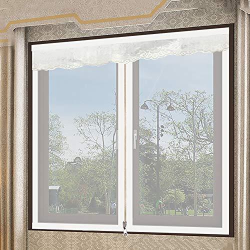Bildschirm Mesh Fenstervorhang, Reißverschluss Netting Flyscreen Schiere Fenstervorhang Moskitonetz Zum Aufhängen Ausgestattet, Um Mehrere Fenster-weiß 120x120cm(47x47inch)