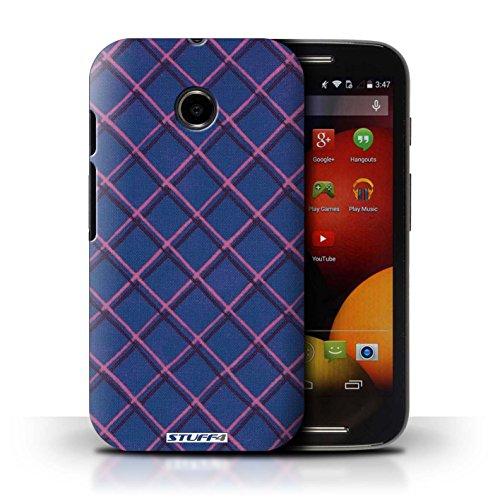 Kobalt® Imprimé Etui / Coque pour Motorola Moto E (2014) / Jaune conception / Série Motif Entrecroisé Bleu