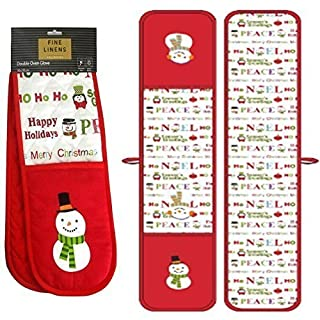 Snowman Festive Xmas Christmas Red Double Kitchen Bbq Oven Cooking Baking Gloves Mitts Thick Padded Cotton Mittens