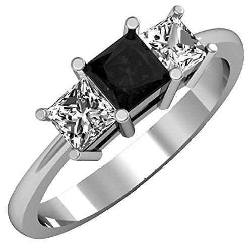 Schwarze Diamant-ring 3-stein (Damen Ring 1.00 Karat 14 Karat Weißgold Princess Schnitt Schwarz Und Diamant Damen 3 Stein Verlobungsring 1 Karat)