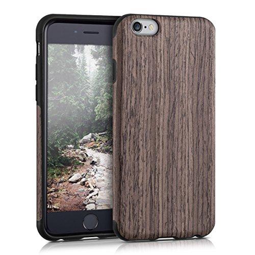 kwmobile Hybrid Case Holz Hülle für Apple iPhone 6 / 6S - TPU Silikon Case mit Pappelholz .Pappelholz Dunkelbraun