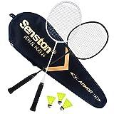 Senston Paire de 2 Raquettes de Badminton et 3 Volants, Sac de Transport - Inclus Convient pour Les Joueurs de Tout Niveau