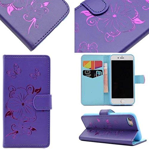 JIALUN-étui pour téléphone Apple IPhone Case, Avec fente de carte, Boucle magnétique papillon téléphone shellfor Apple IPhone 7 4,7 pouces ( Color : Pink ) Purple