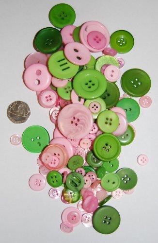 100g verschiedene Farben und Größen, rund, schlicht Tasten für Nähen und,, rosa und grün (Brownie Runde)