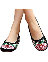 Bonitos y Elegantes Zapatillas Bordadas de Flores Lotus Azul 38 hwDbx4TUo