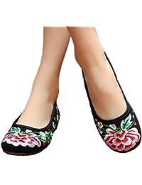 Bonitos y Elegantes Zapatillas Bordadas de Flores Lotus Azul 38