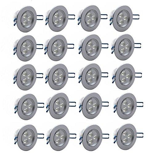 MCTECH 20 Stück Per Set 3W LED Spot Einbauleuchte Einbau Strahler Set Decken Leuchte Lampe (20X3W, Weiß)