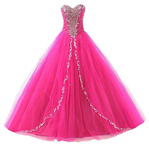 Ballkleider Quinceanera Kleider Damen Lang A Linie Festkleider Abendkleider Tüll Hot Pink EUR56